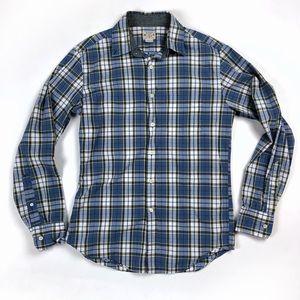 J.Crew Madras blue men's plaid button down shirt